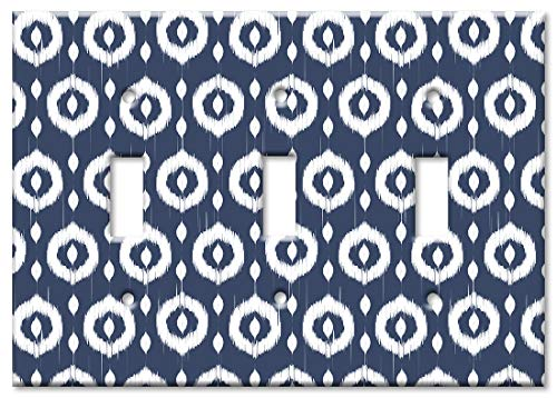 Art Plates 3-Gang Toggle OVERSIZED Switch Plate/OVER SIZE Wall Plate - Blue & White Circles (Circle Switch Plate)