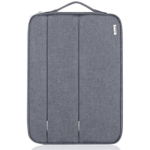 Voova 15-15.6 Inch Laptop Sleeve with Handle Notebook Computer Case Cover Water-resistant Bag for Apple MacBook Pro 15.4 inch, Ideapad, Zenbook -Gray