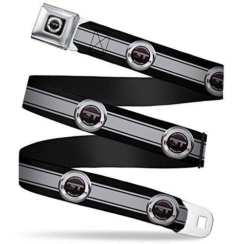 Buckle-Down Seatbelt Belt - FORD GT CALIFORNIA SPECIAL Emblem Stripe Black/Gray/Silvers - 1.0