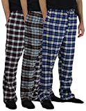 3 Pack:Men's Cotton Super Soft Lightweight Flannel Buffalo Plaid Pajama Pyjamas Pants/Lounge PJS Bottoms Sleepwear,ST 6-M