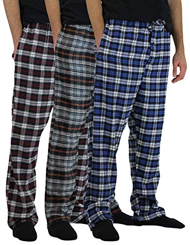 3 Pack:Men's Cotton Super Soft Lightweight Flannel Buffalo Plaid Pajama Pyjamas Pants/Lounge PJS Bottoms Sleepwear,ST 6-L