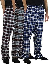 3 Pack:Men's Cotton Super-Soft Flannel Plaid Pajama Pants/Lounge Bottoms with Pockets S-3X