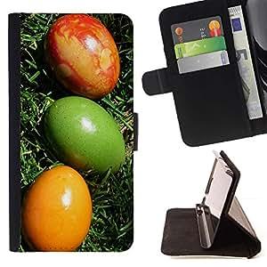 Momo Phone Case / Flip Funda de Cuero Case Cover - Huevos de Pascua coloridos Arte Verde Rojo Amarillo - HTC Desire 820