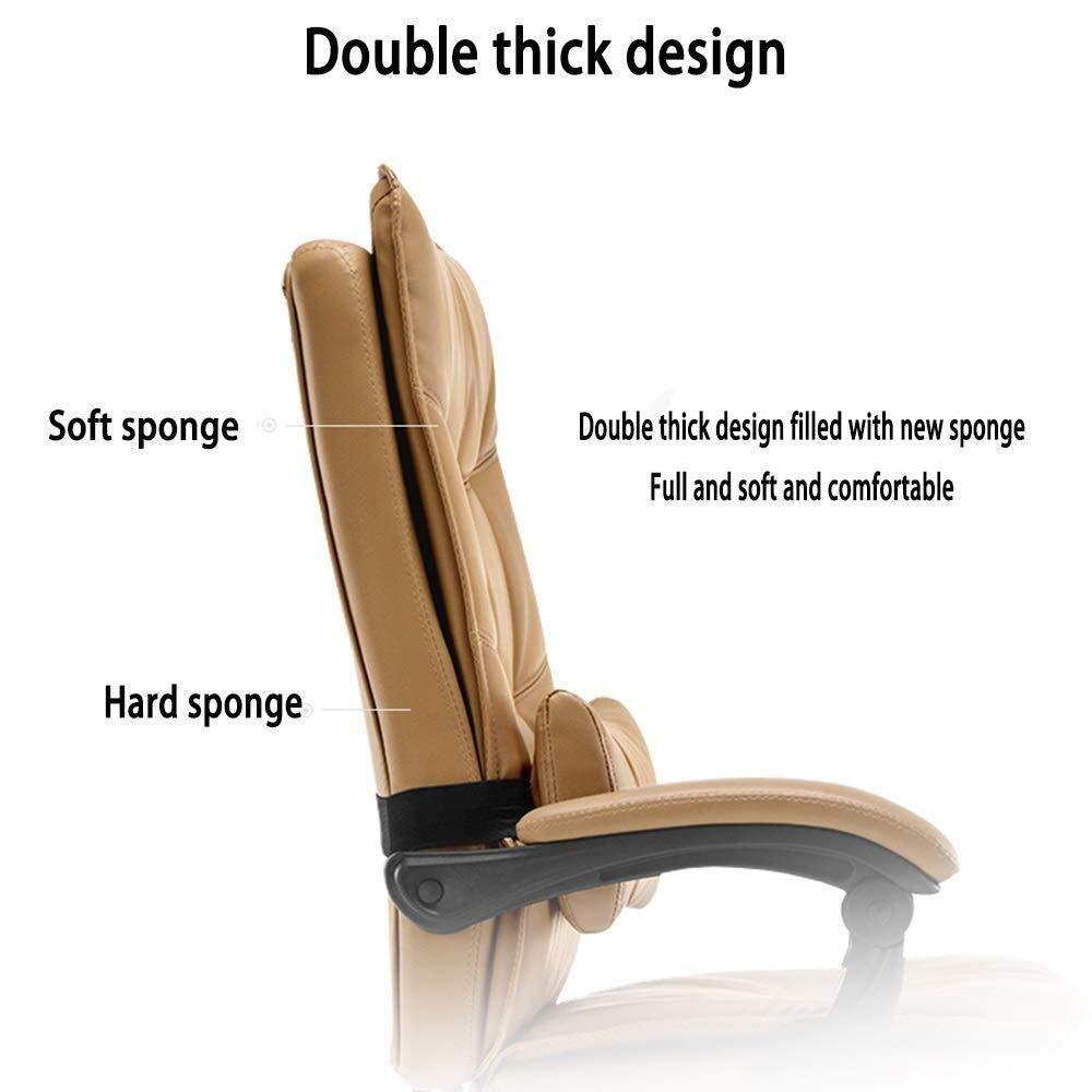 HUIYUAN stol dubbel förtjockning PU-läder stoppning skrivbordsstol 155° liggande med fotstöd rörlig korsryggskudde bärvikt 150 kg (färg: Khaki) Khaki