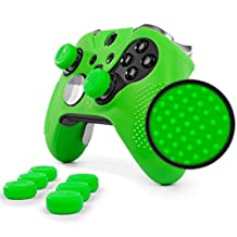 ElitePro Grip STUDDED Skin Set for Xbox One ELITE Controller by Foamy Lizard ® Sweat Free Silicone Skin w/ Raised Anti-slip Studs PLUS set of 8 QSX-Elite Thumb Grips (SKIN + QSX-E GRIPS, GREEN)