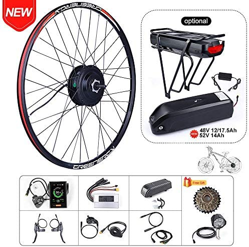 BAFAGN 48V 500W Brushless Hub Motor Ebike Conversion Kit for All Kinds of Bikes 20 26 27.5 700C Rear Wheel 7 Speed freewheels Electric Bicycle Conversion Kit with Battery