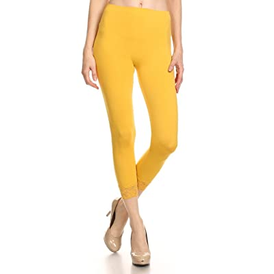 Ambiance Women's Yellow Seamless Capri Under Knee Leggings with Lace Detail at Women's Clothing store