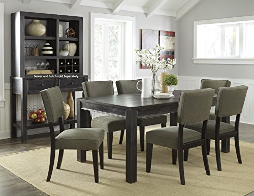 Gavellestong Vintage Casual Black Rectangular Dining Room Table w/ 6 Green Side Chair
