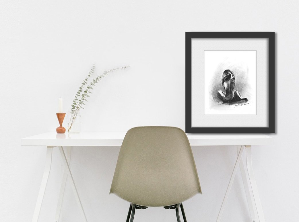 Charcoal Figure Drawing, Nude Art, Naked Woman Art, Erotic Art, Erotic, Nude Model