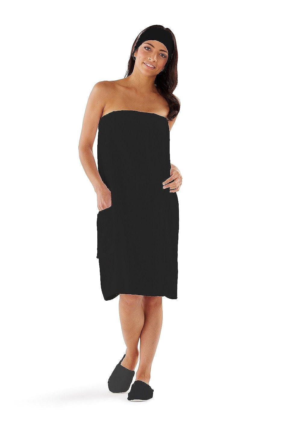 Boca Terry Womens Spa Wrap - 100% Cotton Spa, Shower, Bath and Gym Towel w Snaps - Med/Large, XXL, 4XL, 6XL