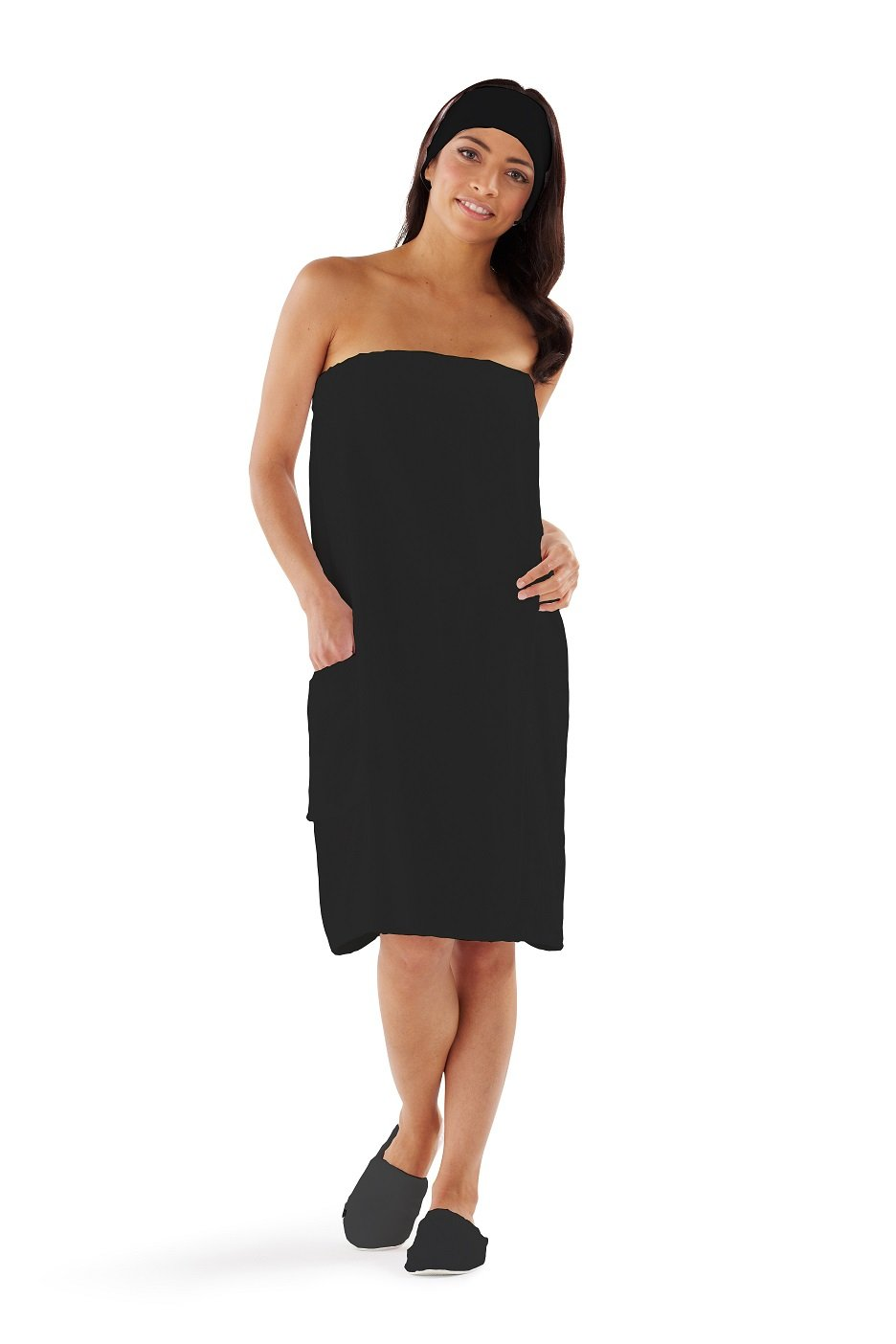 Boca Terry Womens Spa Wrap - 100% Cotton Spa, Shower, Bath and Gym Towel w Snaps - Med/Large, XXL, 4XL, 6XL Black