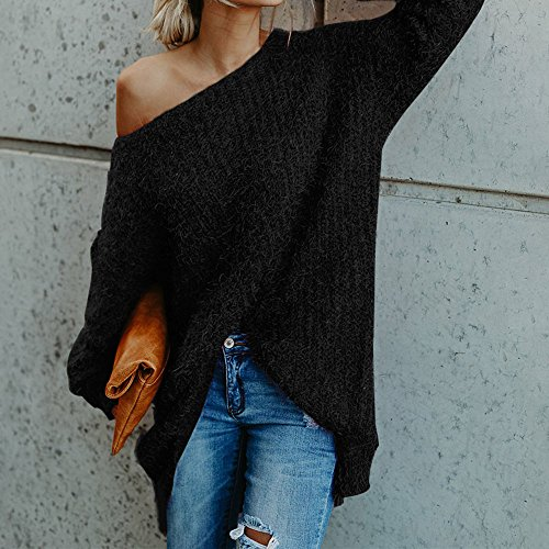 Chandail Tricots Femme Longues D Sfit Epaule Pull Pullover Sweater Tops Manches B1qOa