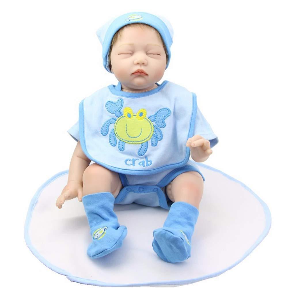 MCCW Wiedergeburt Puppe geschlossen Augen schlafende Baby 22 Zoll Stoff Körper Weißh Silikon-Simulation Baby Geburtstagsgeschenk