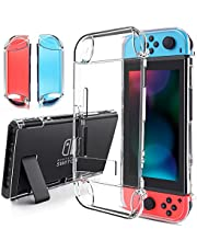 findway Switch Hülle, Crystal Cover Case kompatibel mit Nintendo Switch und Joy-Con Controller, TPU Klar Transparent Shock Absorption Technologie Bumper Protective Accessories