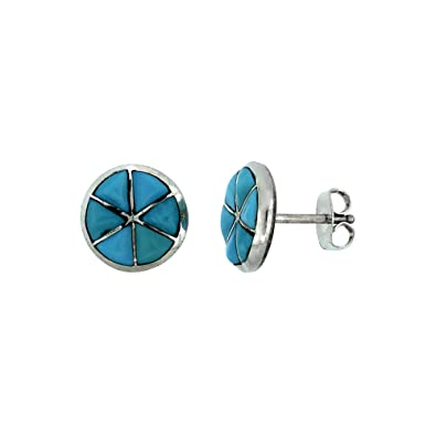 indian sabrinasilver american sterling tribe genuine impl zuni stud silver shopcart home jewelry earrings handcrafted turquoise blue oval
