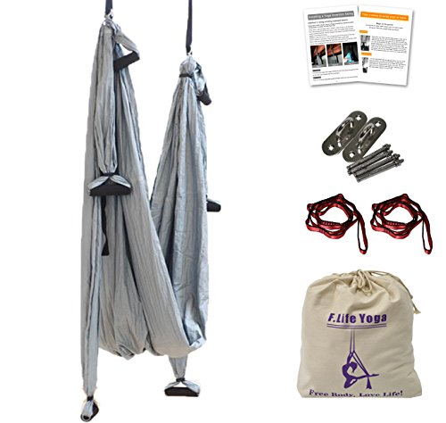 Aerial Yoga Swing - Anti-Gravity Yoga Hammock Swing Straps Inversion Tool 2 Daisy Chain Adjustable Straps and Hooks,pose guide (Silver Grey)