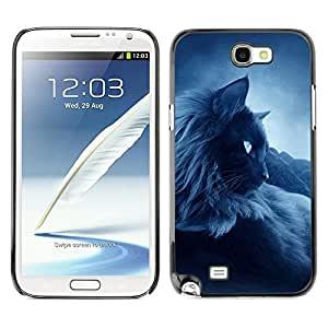 Caucho caso de Shell duro de la cubierta de accesorios de protección BY RAYDREAMMM - Samsung Galaxy Note 2 N7100 - Feline Cat Siamese Blue Mist Fog