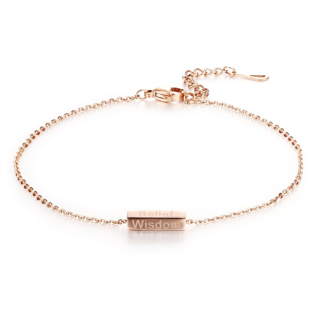 Fashion Ahead Charm 18k Rose Gold Women's Anklet Bracelet Belief, Courage, Wisdom, Luck Foot Chain Luck Foot Chain FAGZ016