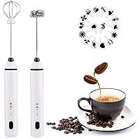 Wanderland - Espumador de leche recargable por USB con 2 batidores de acero inoxidable, mezclador de bebidas ajustable…