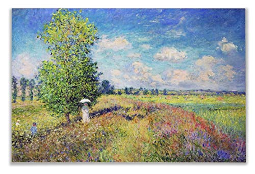 (Monet Wall Art Collection The The Summer, Poppy Field, 1875 Canvas Prints Wrapped Gallery Wall Art | Stretched and Framed Ready to Hang 24X32,)