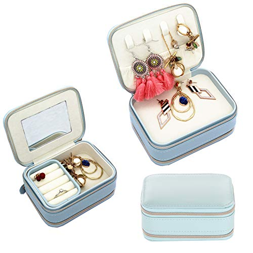 XAUIIO Fashion Portable Jewelry Box Two Zippers Design with Mirror, Travel Mini Jewelry Case for Necklaces Rings Earrings Bracelets etc (Blue)