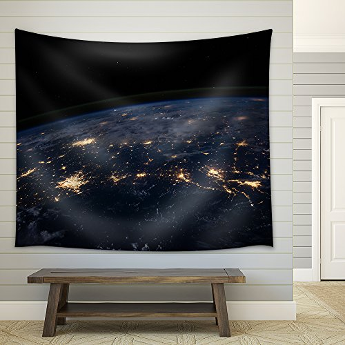Planet Earth from the Space at Night Fabric Wall