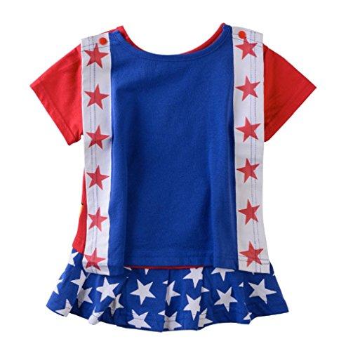 Rush Dance One Piece Super Hero Baby Wonder Baby Woman Romper Onesie Suit Cape (100 (18-24M), Wonder Woman (Red & Blue & White))