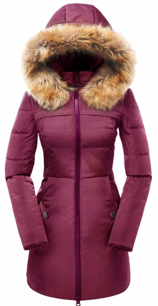 Valuker Women's Down Coat with Fur Hood 90D Parka Puffer Jacket 57-Rosered-M