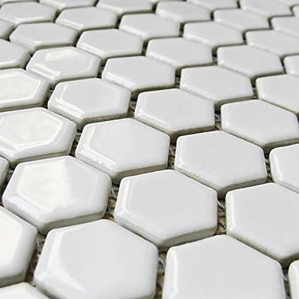 White Ceramic Tile Diameter 1 In Hexagon Mosaic Floor Tiles Wall