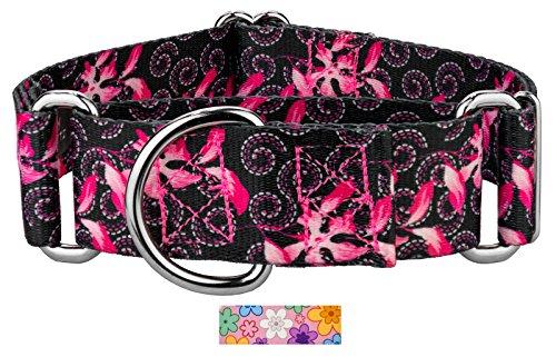 Collar Dog Swirls Designer (Country Brook Petz 1 1/2 Inch Pink Honeysuckle Breeze Martingale Dog Collar - Extra Large)