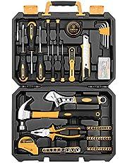 DEKO Ensemble d'outils à main de ménage de 196 pièces avec marteau à griffes, pince de monteur de lignes, règle à ruban de mesure et étui de rangement pour boîte à outils en plastique