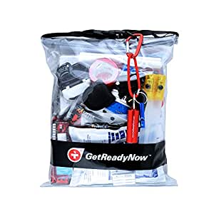 GetReadyNow Personal Car Emergency Kit | High-Quality Earthquake & Natural Disaster Survival Supplies | Compact, Convenient Design | Waterproof Dry Bag with Light, First Aid, Emergency Essentials