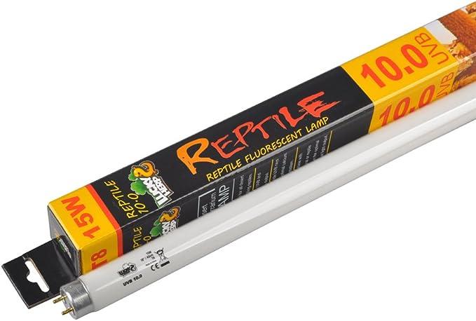 LUCKY Herp 10.0 lámpara de Tubo Fluorescente para terrario, Bombilla UV, 15 W, 18 Pulgadas, T8