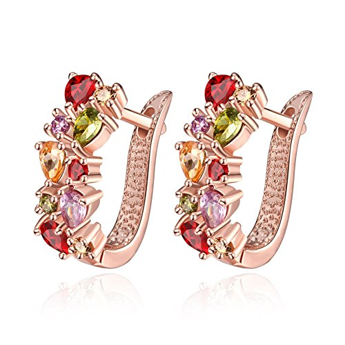 Buycitky Rose Gold Plated Prongs Swarovski Crystal Stud Earrings for Women Jewelry Multicolor Crystal Studs U Earrings (A1)