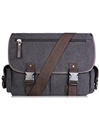 AB Earth Vintage Nylon School bag Messenger Bag, M707 (Darkgrey with laptop sleeve)