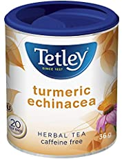 Tetley Full-Flavoured Turmeric Echinacea Caffeine Free Herbal Tea with Ginger Root, Lime Flowers and Zesty Lemon Peel - 36 Grams, 20 Tea Bags per Canister