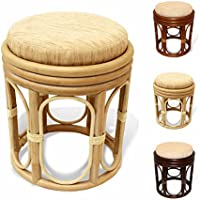 Pier Handmade Rattan Wicker Vanity Bedroom Stool Fully Assembled White Wash