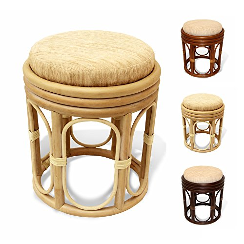 (Pier Handmade Rattan Wicker Vanity Bedroom Stool Fully Assembled White Wash)