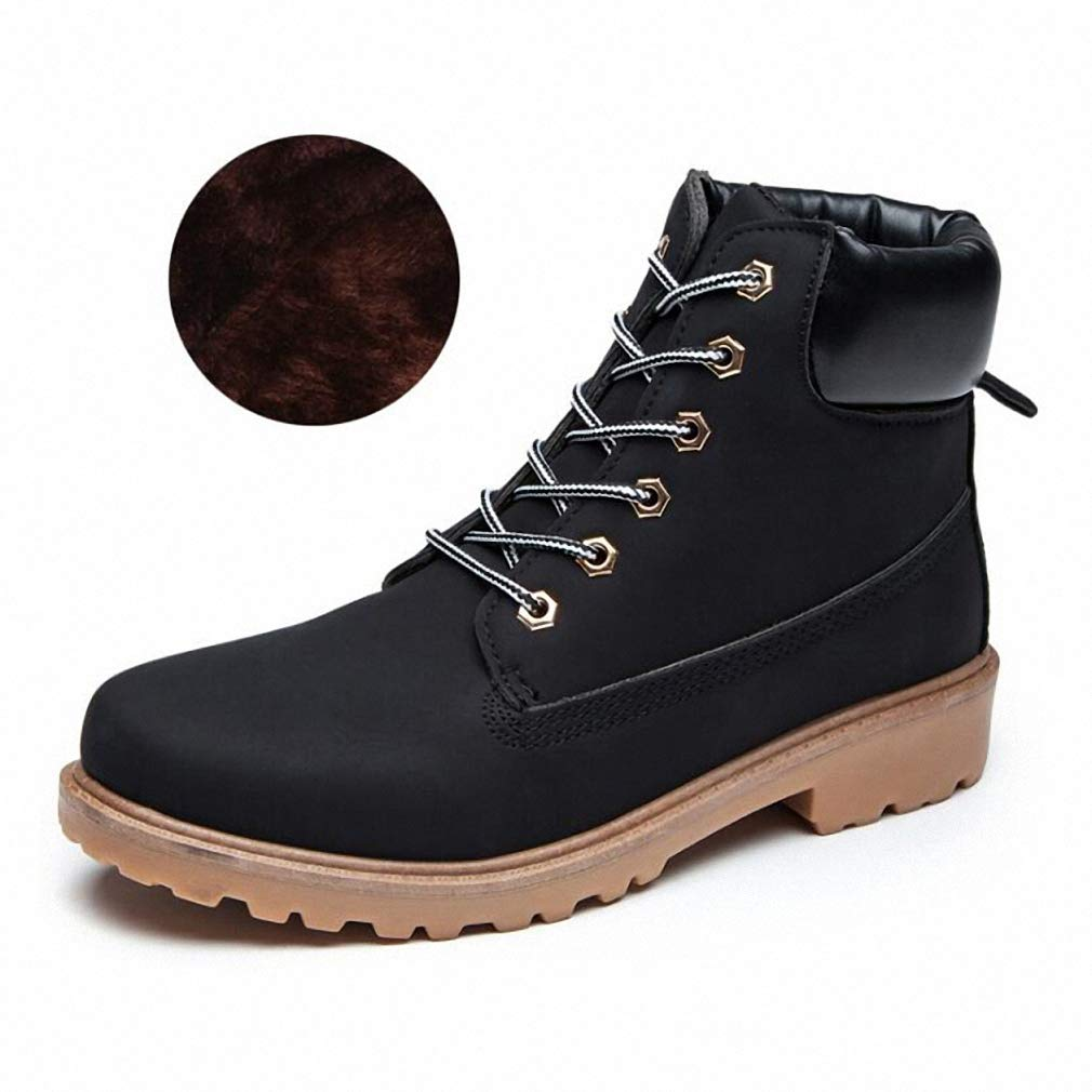 Black Plush 5.5 Mens Backpacking Boots Mens Boots Autumn Winter Pu Leather Unisex Style Plush Keep Warm Men Outdoors shoes Martin Motorcycle Boots