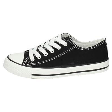 H.F Shoes S122 Bambas Lonas Negras Mujer Zapatillas: Amazon.es: Zapatos y complementos