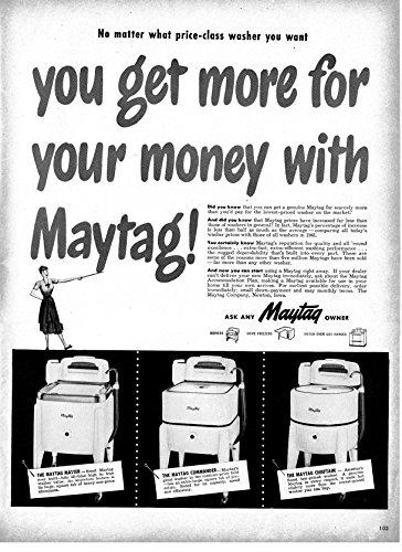 Vintage Appliance Ads (1947 Maytag Washing Machines With Ringers Original 13.5 * 10.5 Magazine Ad)