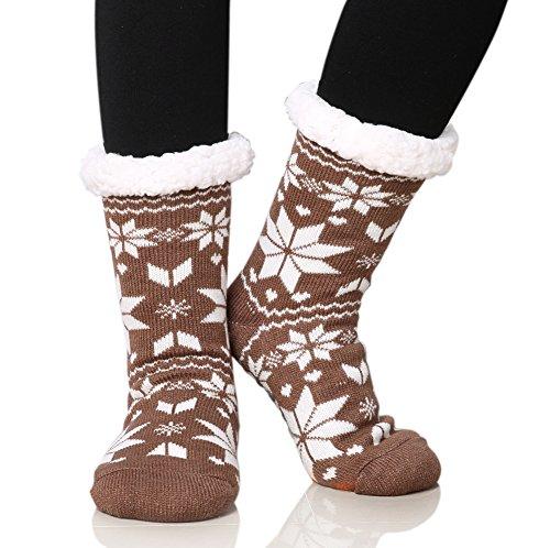 (Dosoni Women's Fleece Lining Fuzzy Soft Christmas Knee Highs Stockings Slipper Socks (Snowflake Brown))