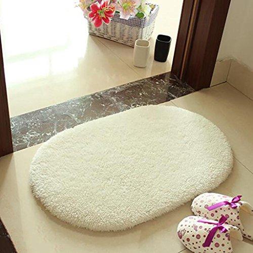 - AREA RUGS Waterproof Door Anti-Slip Mats Room Bathroom Ottomans Oval Rug Sliding Bedside , milk white , 45cm x 130cm