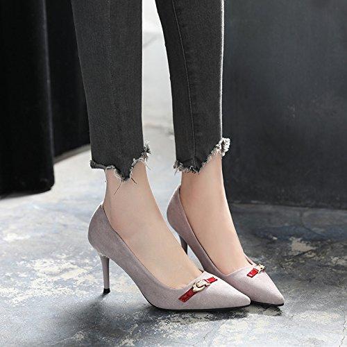GAOLIM Los Zapatos De Tacón Alto En La Primavera De Mujeres Negras Con Punta Fina Solo Zapatos Zapatos De Mujer Transpirable Gris