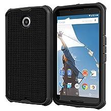 roocase Nexus 6 Case - Versa Tough Nexus 6 Case PC / TPU Hybrid Full Body Armor Case with Built-in Screen Protector for Google Nexus 6 2014, Granite Black