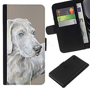 Weimaraner Art Painting Grey Blue Dog - la tarjeta de Crédito Slots PU Funda de cuero Monedero caso cubierta de piel Sony Xperia Z4v / Sony Xperia Z4 / E6508