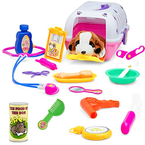 Childrens Care Kit - Vet Play Set For Toddlers & Kids Veterinarian Kit Toy With A Plush Dog & 18 Care Accessories & Pet Doctor Instruments – Colorful Vet Toy Set For Play Pretend Examination & Treatment