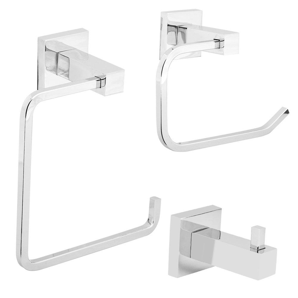 Yosoo 3 Sets Polished Chrome Hardware Bathroom Accessory Sets, Anti Rust Wall Mounted Towel Bar Robe Hook Paper Holder