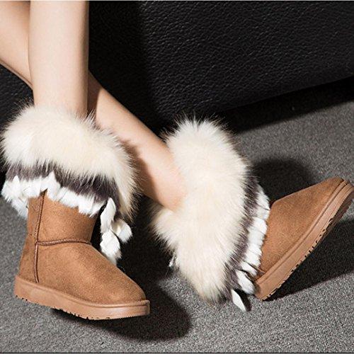 Zapatos mujer Clode® pierna de media Moda de zorro Amarillo Chunky Invierno a Sole Botas invierno Zorro mujer para sintética para Botas piel Piel de cXqx7HB4WX