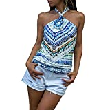 Sale Women Shirts Casual Retro National Style Sleeveless Hanging Neck Tee Blouse Shirt Tops Blue